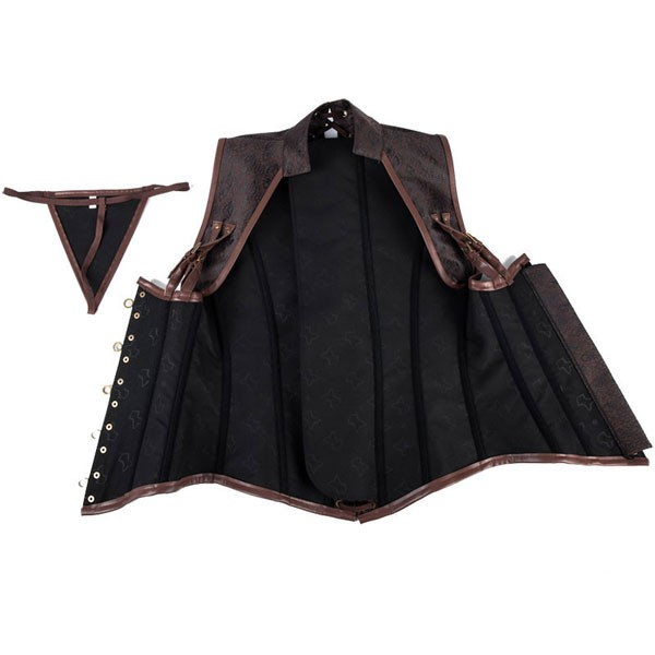 Vintage Retro Steel Bone Gothic Underbust Waist Shaper Steampunk Corset brown_02