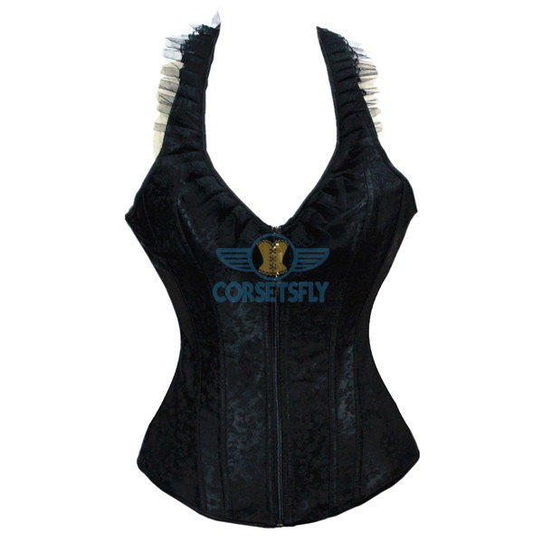 Ingenious Pleated Lace V Neck Reversible Zipper Closure Corset with Halter CF5140 Black