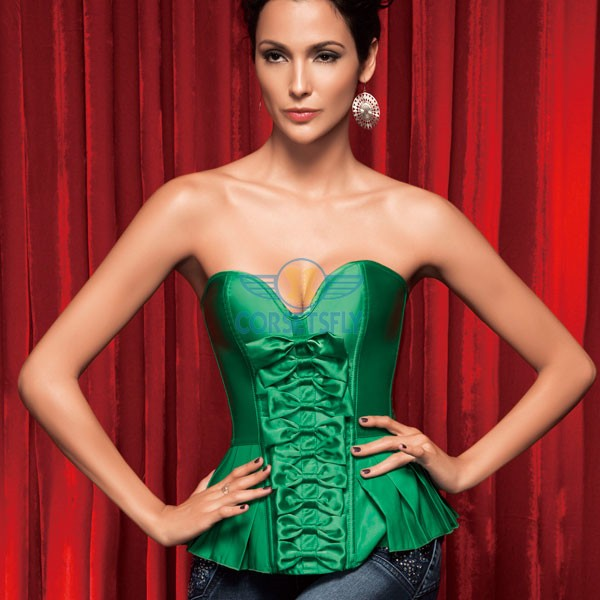 Ingenious Premium Satin Sweetheart Voluminous Bow Front Pleated  Trim Bottom Corset CF5155 Green