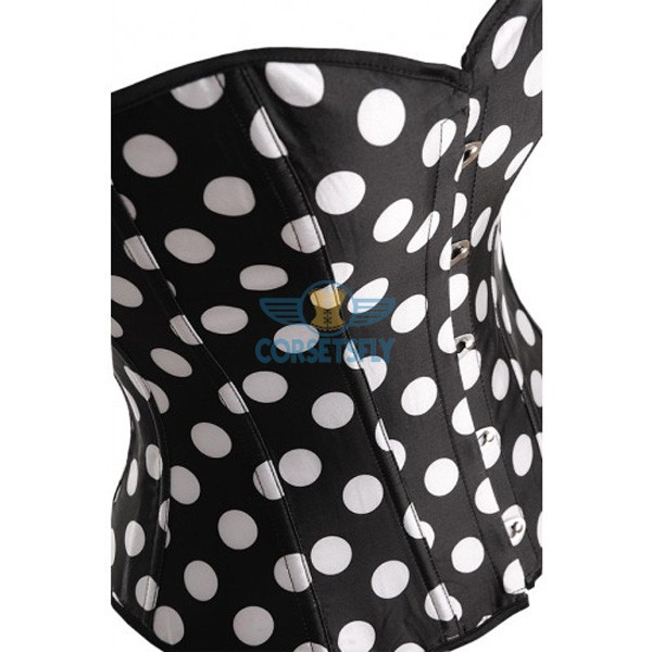 Ingenious Waist Cincher Overbust Sweetheart Corset with White Polka Dot CF5074 White_01