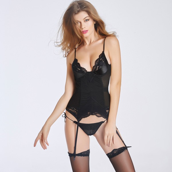 Lace Back Hook Eye Closure Corset With Removable Garters Panty CF6015 black_01