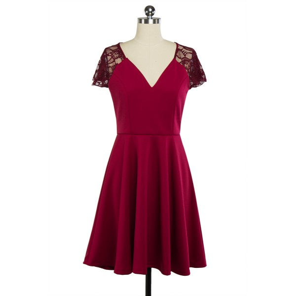 Lace Retro Vintage Short Sleeve Rockabilly Evening Party Swing Dress CF1285 Red_01