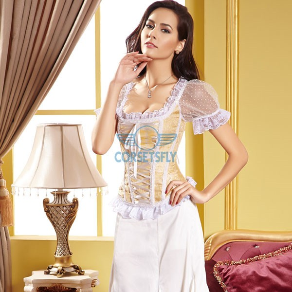 Lace Sleeves and Ribbon Sweetheart Zip Closure Back Overbust Corset CF5022 Gold