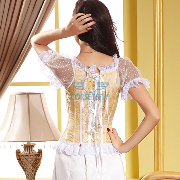 Lace Sleeves and Ribbon Sweetheart Zip Closure Back Overbust Corset CF5022 Gold_01