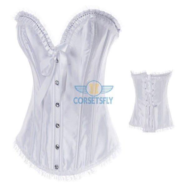 Lace Trim on Top and Bottom Zipper Rhinestone Overbust Corset CF7076 White_01