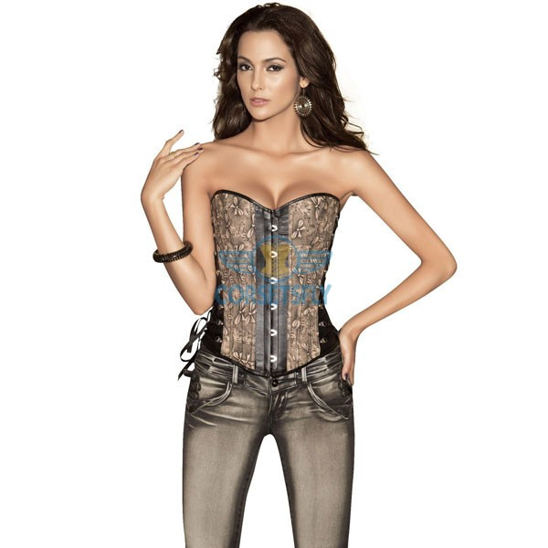 Lace Up in Side Back Denim Floral Print Overbust Corsets CF5005 Coffee