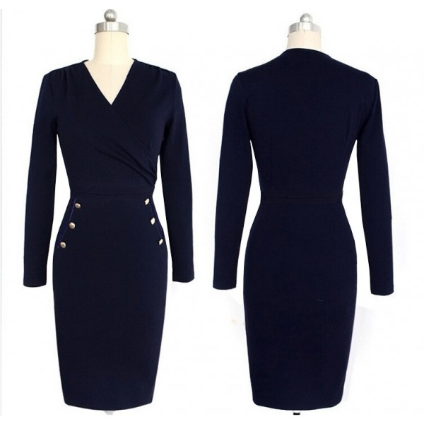 Lady's Chic Elegant Classic V Neck Long Sleeve Bodycon Pencil Dresses CF1630 Navy_01