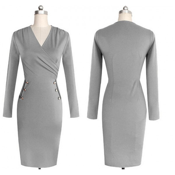 Lady's Chic Elegant Classic V Neck Long Sleeve Bodycon Pencil Dresses CF1630 Gray_01