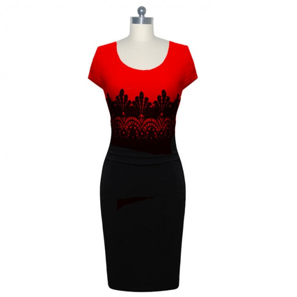 Lady's Chic Elegant Voguish Round Neck Short Sleeve Pencil Dresses CF1614 Red_01