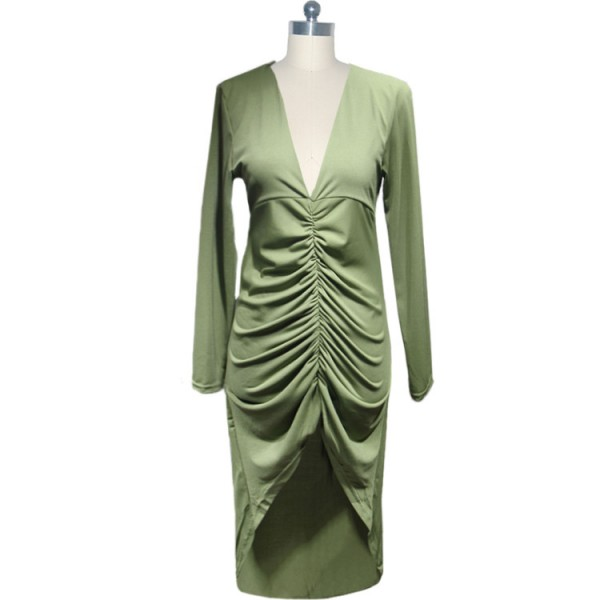 Lady's Chic Voguish V Neck Pleated Inspired Long Sleeve Pencil Dresses CF1636 Green_02