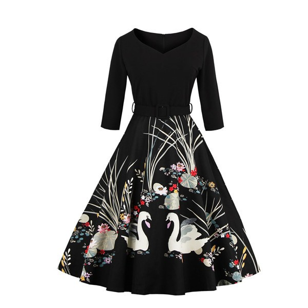 Lady's Floral Print Vintage Picnic Evening Party Rockabilly Swing Dress CF1439 Black_01