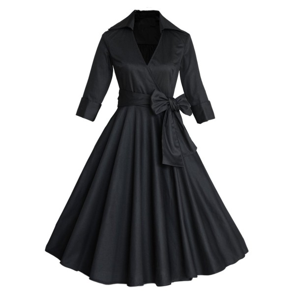 Lady's Retro V Neckline Lapel Classic Vintage Rockabilly Swing Dress CF1430 Black _01