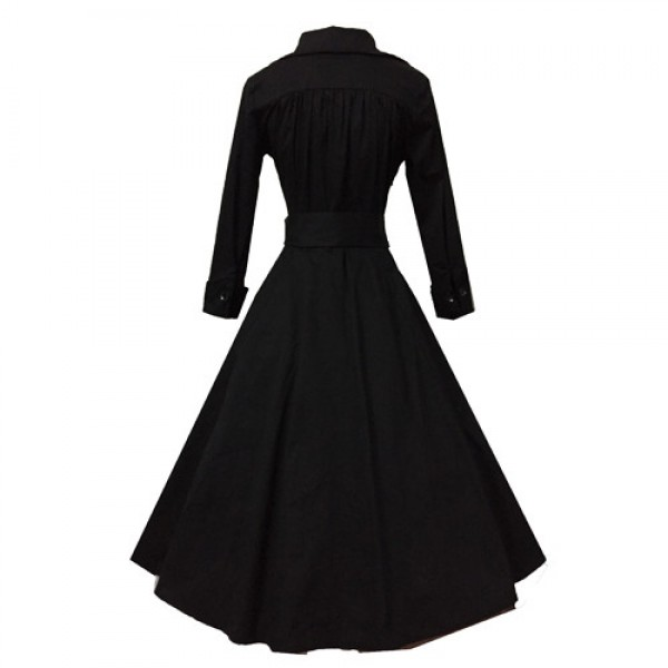 Lady's Retro V Neckline Lapel Classic Vintage Rockabilly Swing Dress CF1430 Black _03