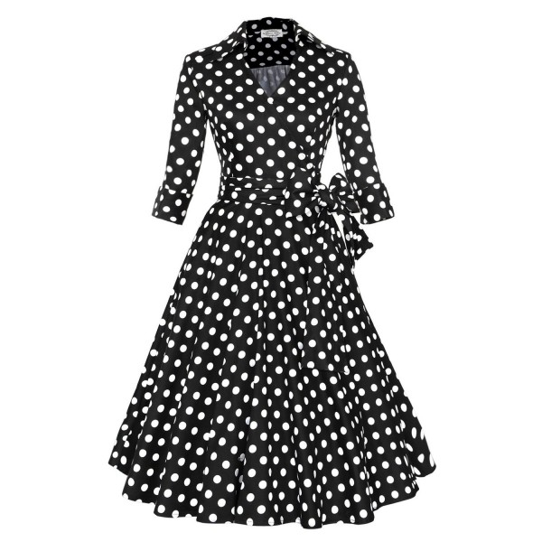 Lady's Retro V Neckline Lapel Classic Vintage Rockabilly Swing Dress CF1430 Black Dot_06