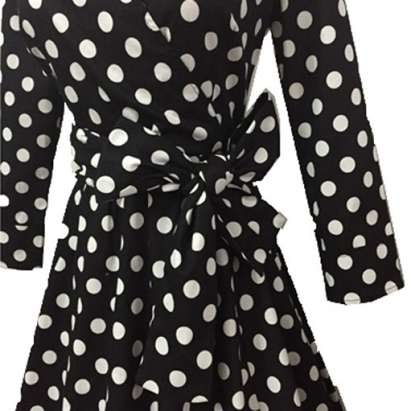 Lady's Retro V Neckline Lapel Classic Vintage Rockabilly Swing Dress CF1430 Black Dot_02