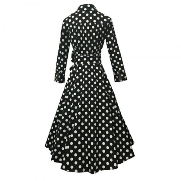 Lady's Retro V Neckline Lapel Classic Vintage Rockabilly Swing Dress CF1430 Black Dot_03