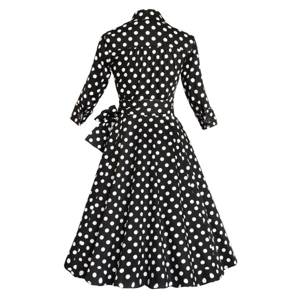 Lady's Retro V Neckline Lapel Classic Vintage Rockabilly Swing Dress CF1430 Black Dot_07