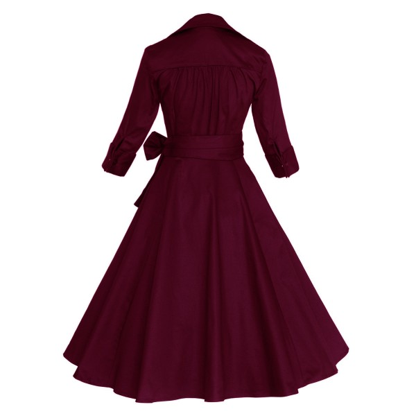 Lady's Retro V Neckline Lapel Classic Vintage Rockabilly Swing Dress CF1430 Burgundy _02