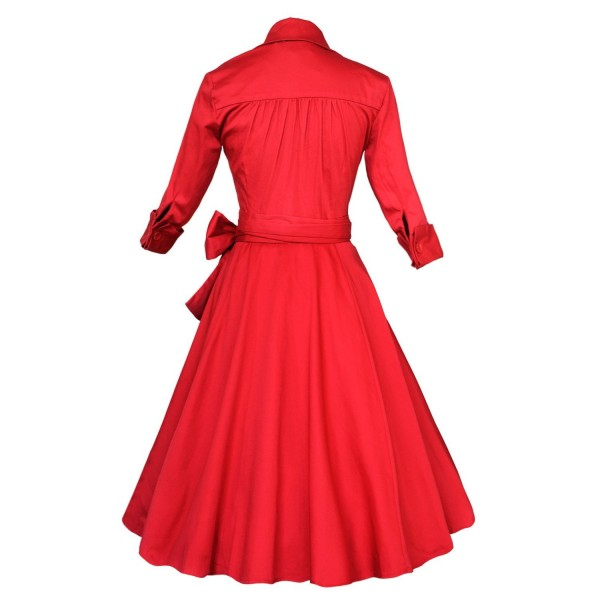 Lady's Retro V Neckline Lapel Classic Vintage Rockabilly Swing Dress CF1430 Red_02