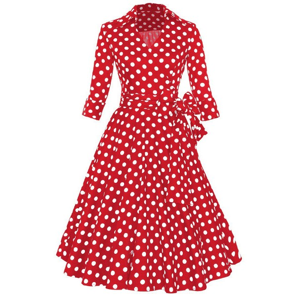 Lady's Retro V Neckline Lapel Classic Vintage Rockabilly Swing Dress CF1430 Red Dot_01
