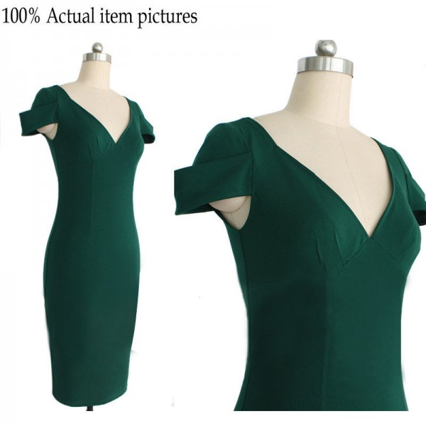 Lady's Retro Voguish V Neck Pleated Cap Sleeve Bodycon Pencil Dresses CF1602 Green_05