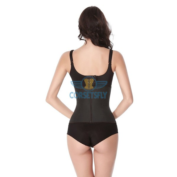 Latex Waist Training Rubber Cincher 9 Steel Boned Underbust Corset CF9001 Black_04