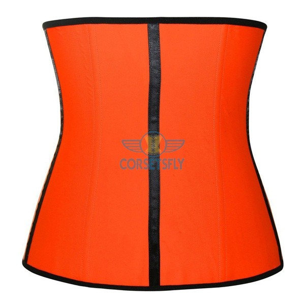 Latex Waist Training Rubber Cincher 9 Steel Boned Underbust Corset CF9001 Orange_01