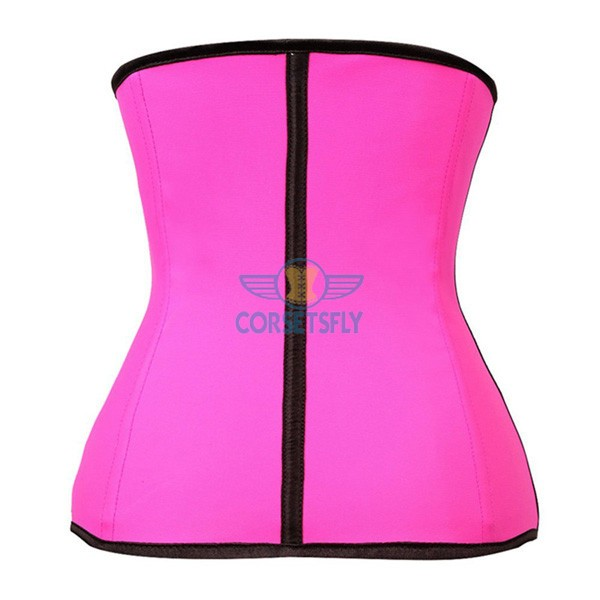Latex Waist Training Rubber Cincher 9 Steel Boned Underbust Corset CF9001 Pink_01