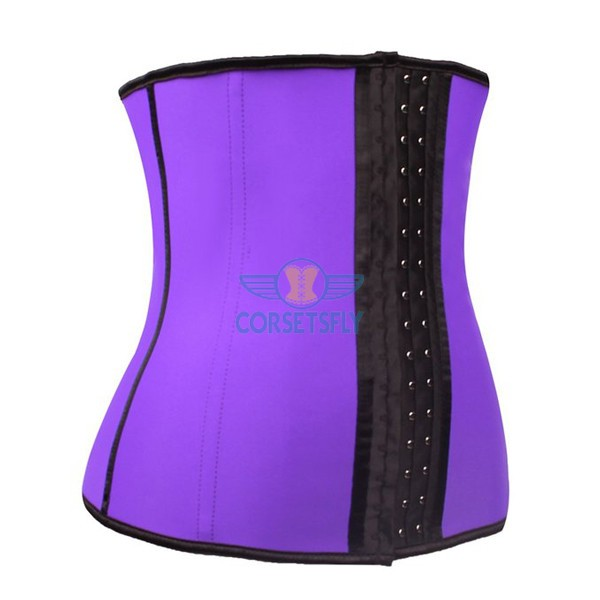 Latex Waist Training Rubber Cincher 9 Steel Boned Underbust Corset CF9001 Purple_01