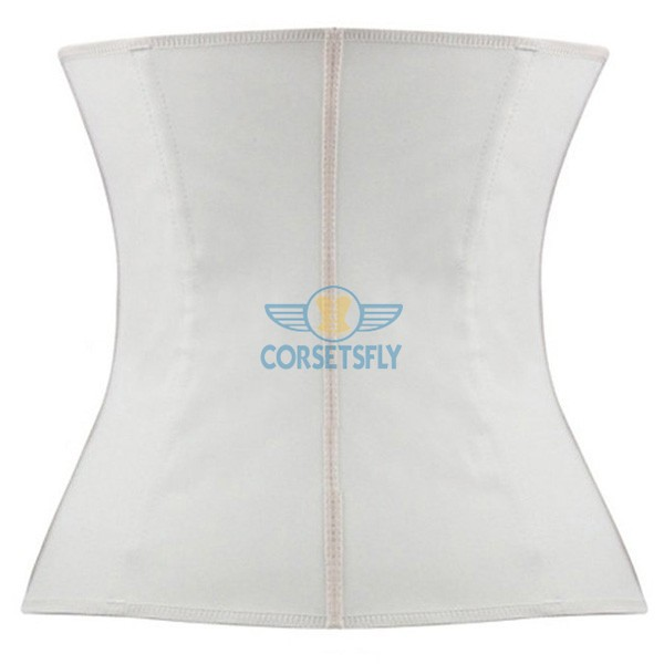 Latex Waist Training Rubber Cincher 9 Steel Boned Underbust Corset CF9001 White_01