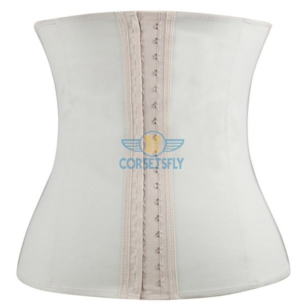 Latex Waist Training Rubber Cincher 9 Steel Boned Underbust Corset CF9001 White