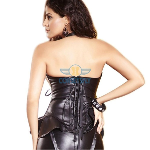 Leather Ribbon Lacing Detail Side With Hip Panels Halterneck Corset CF5323_01