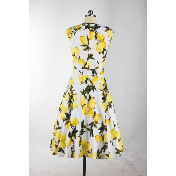 Lemon Floral Print Rockabilly Vintage Pinup Bowknot Sleeveless Swing Dress CF1250_02
