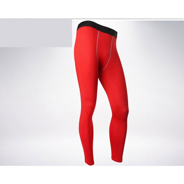 Men's Body Muscle Long Running Fitness Tights Pants CF2212 red