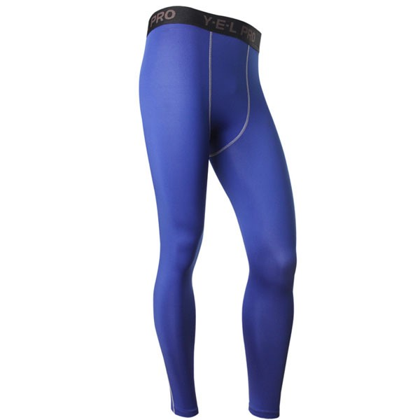 Men's Body Shaper Muscle Slimming Long Tights Pants CF2208 blue
