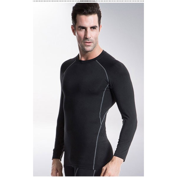 Men's Muscle Baselayer Athletic Stretch Performance Shirt CF2221 black_01