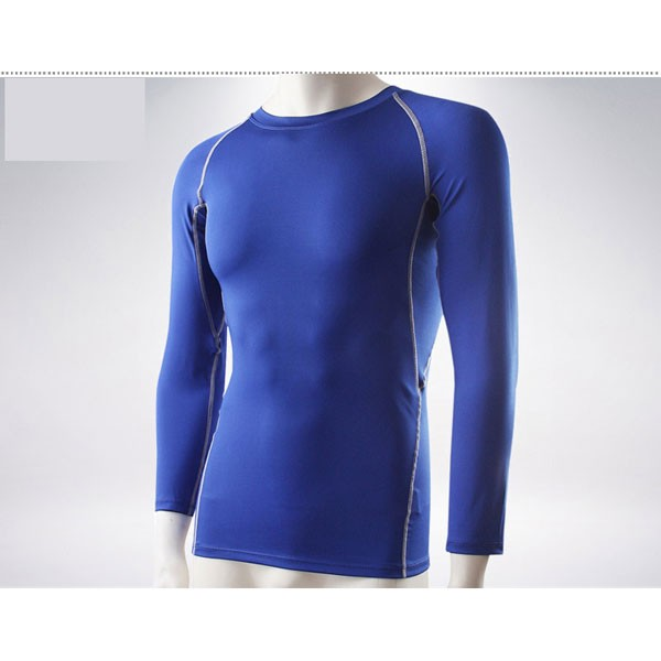 Men's Muscle Baselayer Athletic Stretch Performance Shirt CF2221 blue