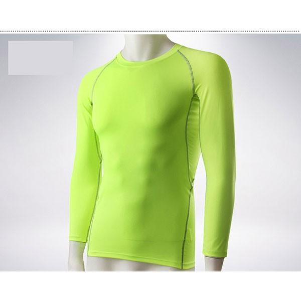 Men's Muscle Baselayer Athletic Stretch Performance Shirt CF2221 green
