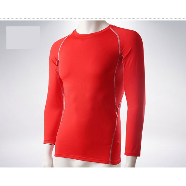Men's Muscle Baselayer Athletic Stretch Performance Shirt CF2221 red