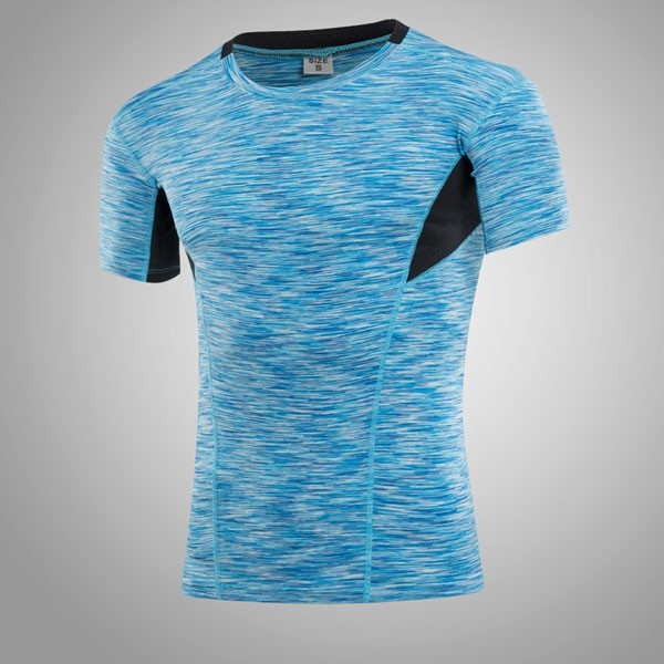 Men's Muscle Baselayer Short Athletic Abdomen Tights Shirt CF2227 blue