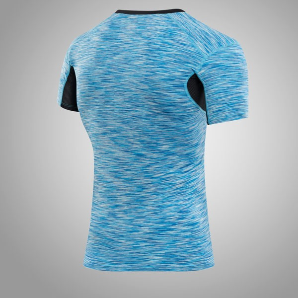 Men's Muscle Baselayer Short Athletic Abdomen Tights Shirt CF2227 blue_01