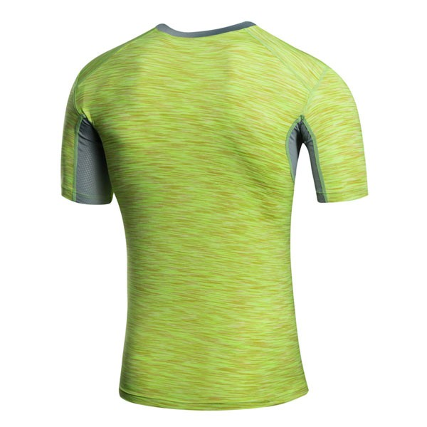 Men's Muscle Baselayer Short Athletic Abdomen Tights Shirt CF2227 green_01