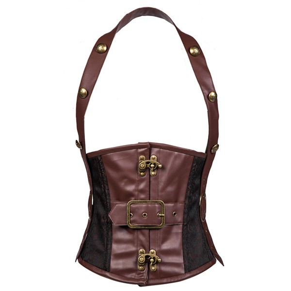 b3fcc7235e Quick View · Men s Vintage Halter Steel Boned Faux Leather Steampunk  Underbust Brown Corset CF8059 01