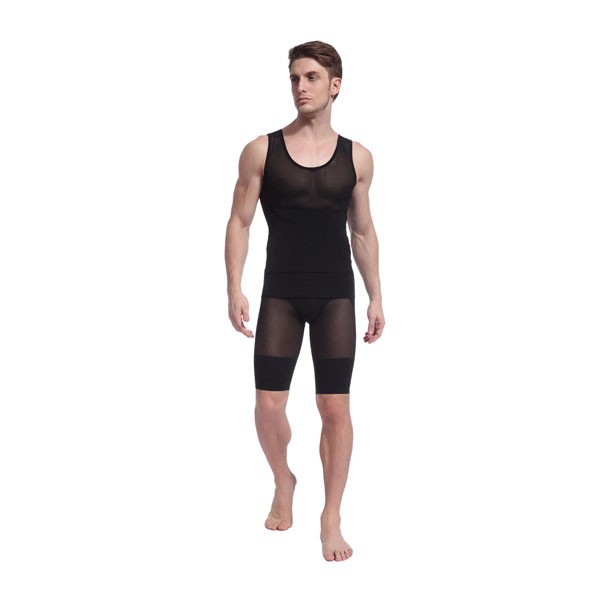 Men Slimming Compression Body Shaper Clasp Sleeveless Undershirt CF2103 black
