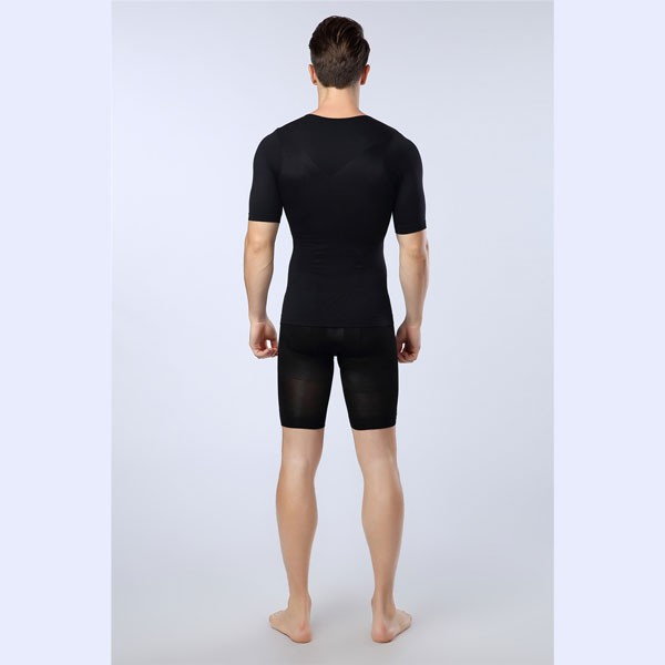 7ddf3d02053 ... Men Slimming Compression Body Shaper Elastic Short Sleeve Undershirt  CF2106 black 04 ...