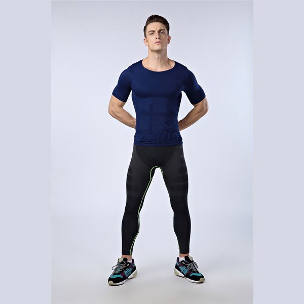 b38f7fd1812 ... Men Slimming Compression Body Shaper Elastic Short Sleeve Undershirt  CF2106 blue ...