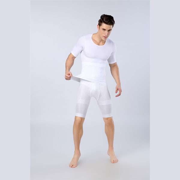 85647c8c4a5 ... CF2106 white  Men Slimming Compression Body Shaper Elastic Short Sleeve  Undershirt CF2106 white 01 ...