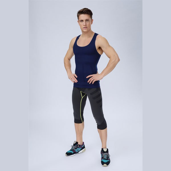 Men Slimming Compression Body Shaper Tight Fit Sleeveless Undershirt CF2105 blue_01
