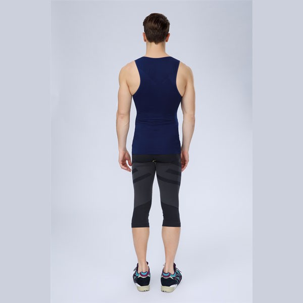 Men Slimming Compression Body Shaper Tight Fit Sleeveless Undershirt CF2105 blue_04