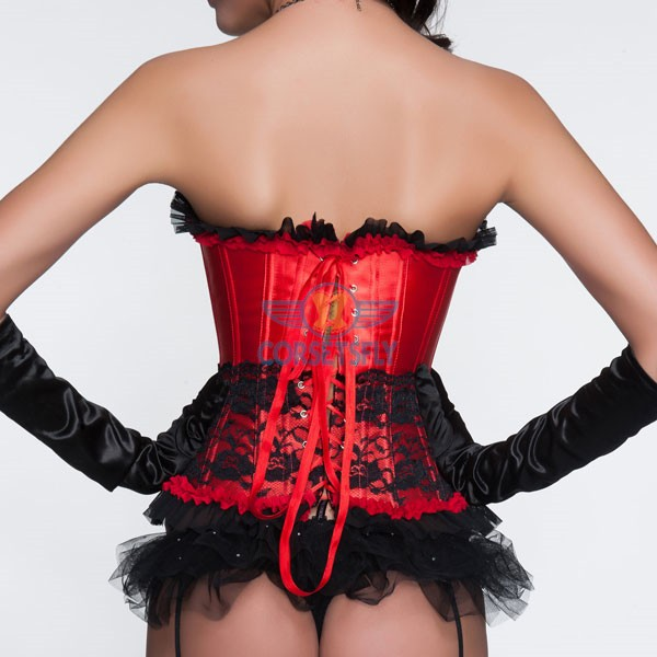 Mild Sweetheart Bust Line Lace Overlay Ruffle Trim Elegance Corset CF5037 Red_02